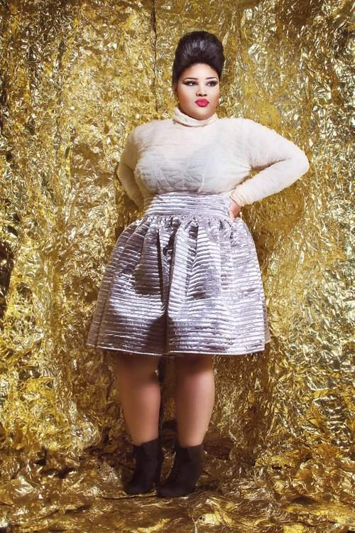 Plus size designer- Jibri Holiday 2011 Collection- Brooke Textured Turtleneck and Metallic Brocade Skirt
