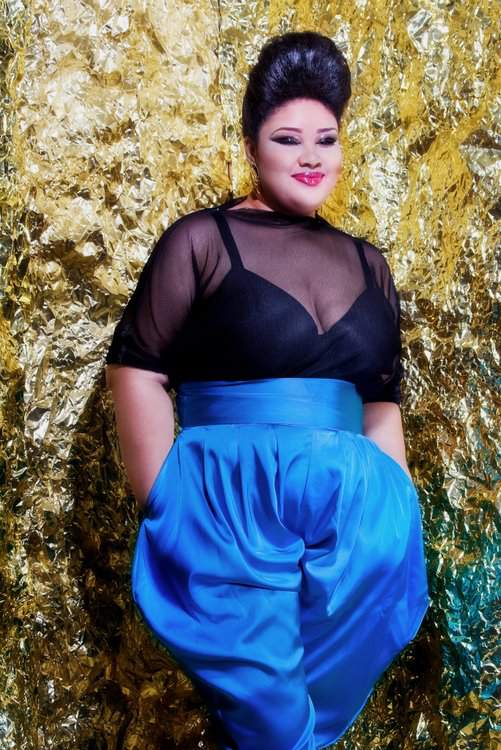 Plus size designer- Jibri Holiday 2011 Collection- Sheer Top and High Waist Satin Slouch Pants