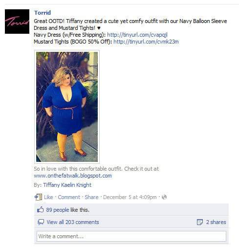 Torrid's Feature of Tiffany from On The Fatwalk