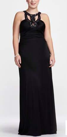Davids Bridal Plus Size Black Beaded Twist Neck Prom Dress
