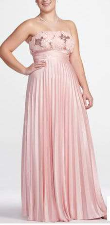 Davids Bridal Plus Size Baby Pink Strapless Pleated Prom Dress