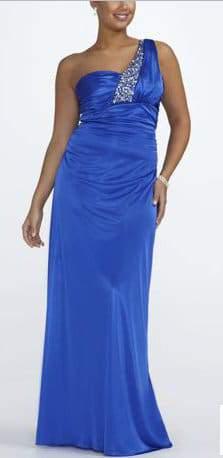 Davids Bridal Plus Size Blue Beaded One Shoulder Prom Dress