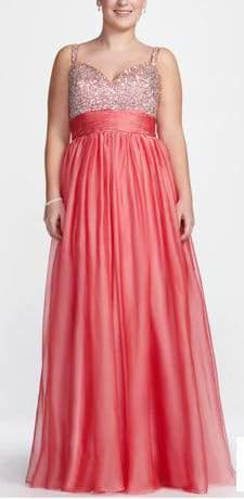Davids Bridal Plus Size Sleeveless Chiffon plus size Gown