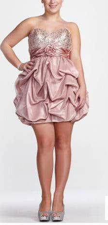 David's Bridal Plus Size Pale Pink Strapless Prom Gown
