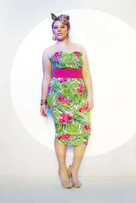 JIBRI Plus Size Tropical Print Pencil Dress
