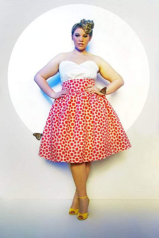 JIBRI Plus Size High Waist Flare Skirt (Limited Print)