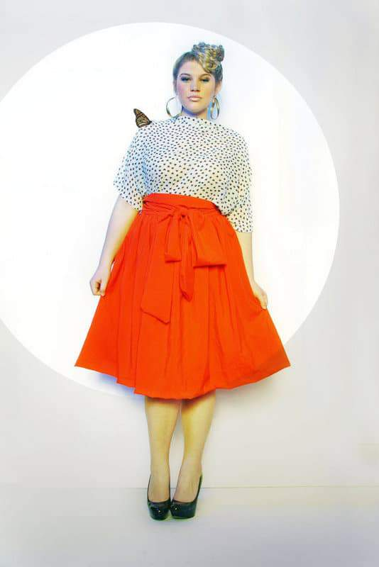JIBRI Plus Size High Waist Flare Skirt (attached wrap belt)