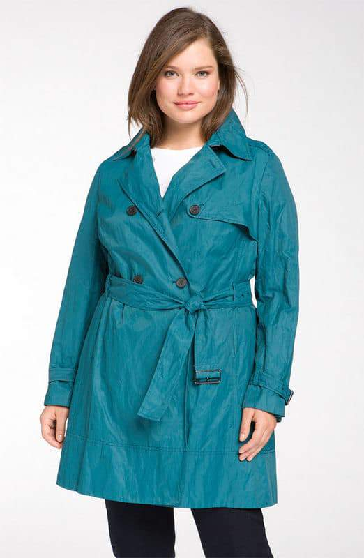Kenneth Cole New York Plus Size Metal Flared Trench Coat