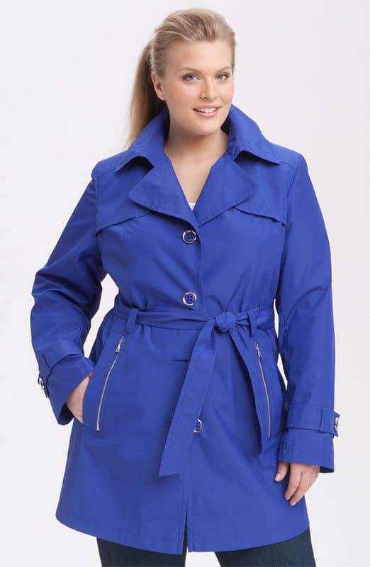 Gallery Plus Size Single Breasted Trench Coat
