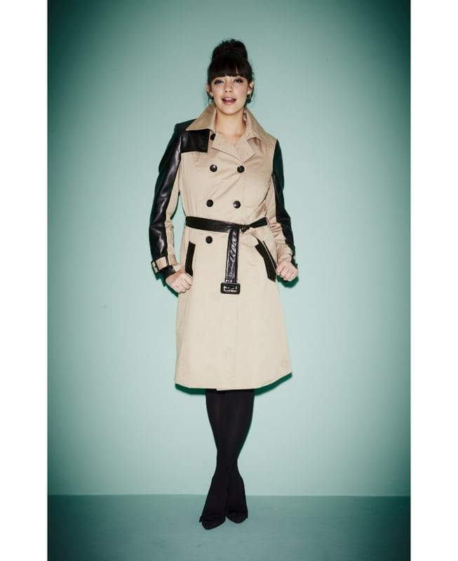 Simply Be Plus Size PU Trim Trench