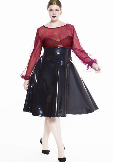 Jibri Plus Size Patent Leather Skirt