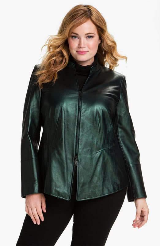 Lafayette 148 Leather Peplum Jacket