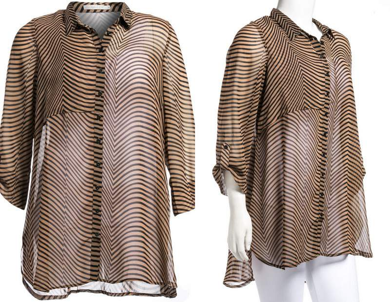 Plus Size Label Gozzip sheer Patterned Top