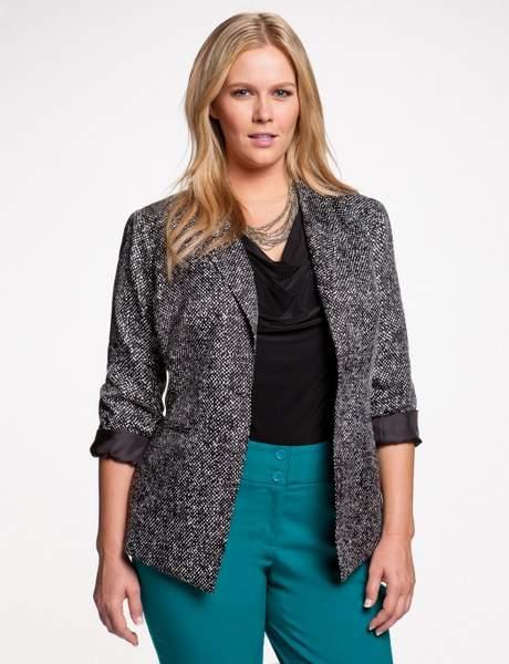 Eloquii Pointed Hem Slouchy Tweed jacket