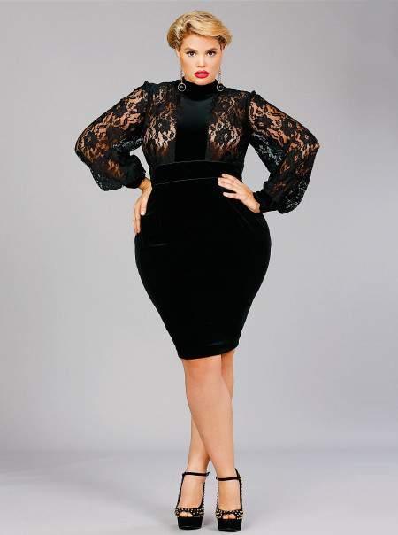Monif C Amelia Lace Panel Velvet Dress-Black