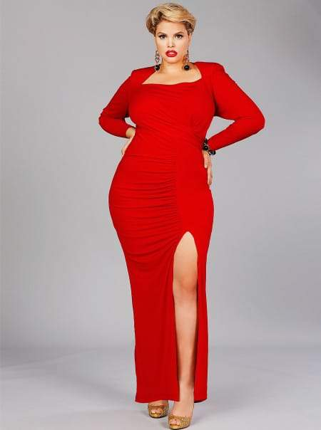"""Monif C Plus Sizes CÉLINE"""" HIGH SHOULDER JERSEY RUCHED GOWN in Red"""