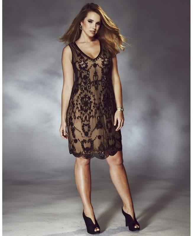 Simply Be Plus Size RISE ELIZABETH BEADED TUNIC DRESS