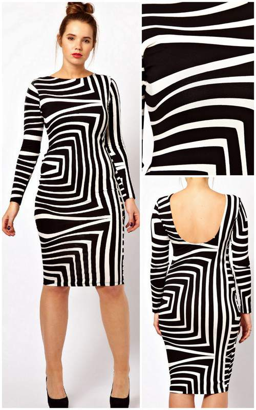 ASOS Curve Body-Conscious Dress In Geo Mono Print