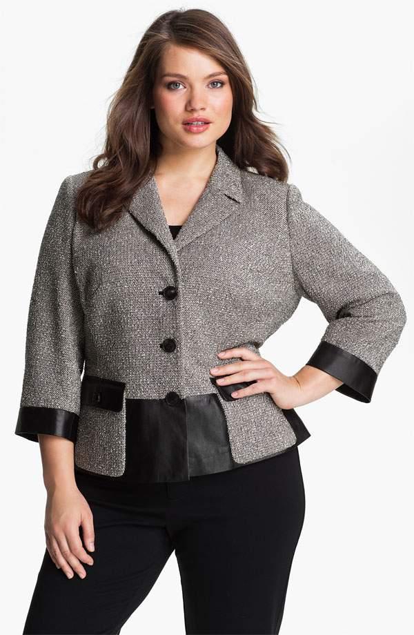 Lafayette 148 New York Plus Size 'Betty' Leather Trim Jacket