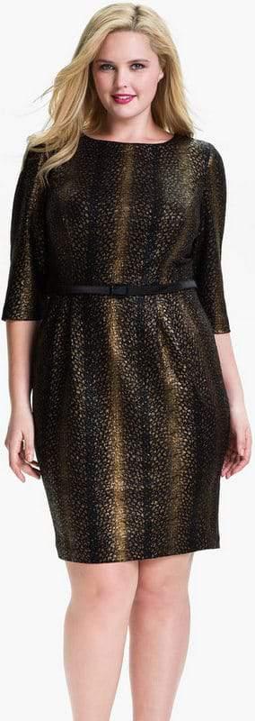 Alex Evenings Plus Size Belted Jacquard Sheath Dress