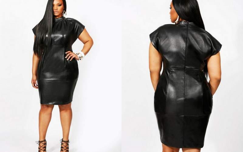 Monif C Plus Sizes: The Kate High Neck Leather Dress