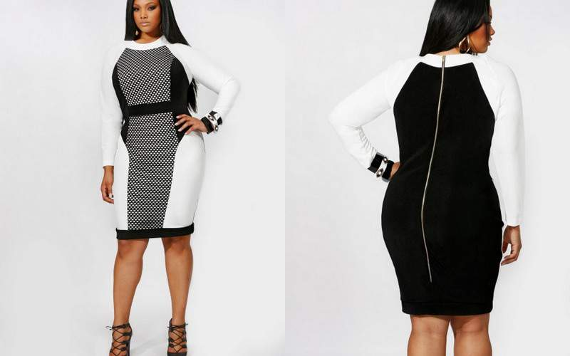 Monif C Plus Sizes: The Paige with Mesh Inserts Color Blocked Dress