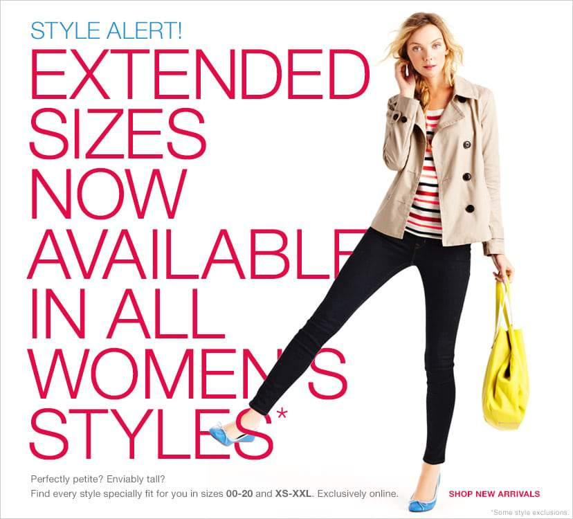 GAP Includes Extended Sizes