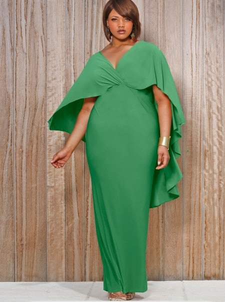 Monif C Plus Sizes Bridgette Cape Back Maxi Dress in Kelly Green