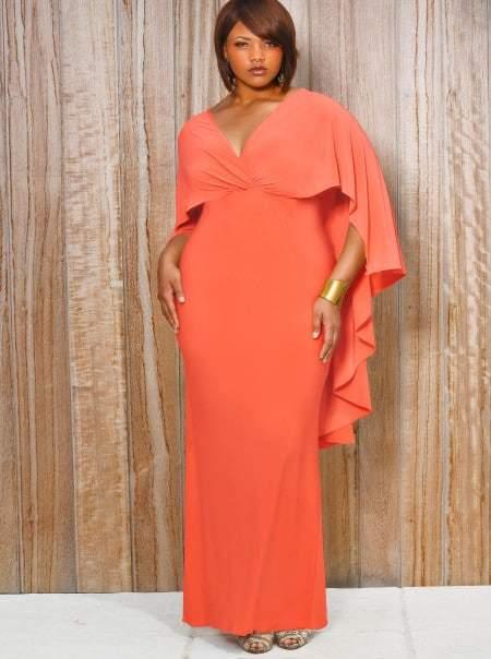 Monif C Plus Sizes Bridgette Cape Back Maxi Dress in Coral