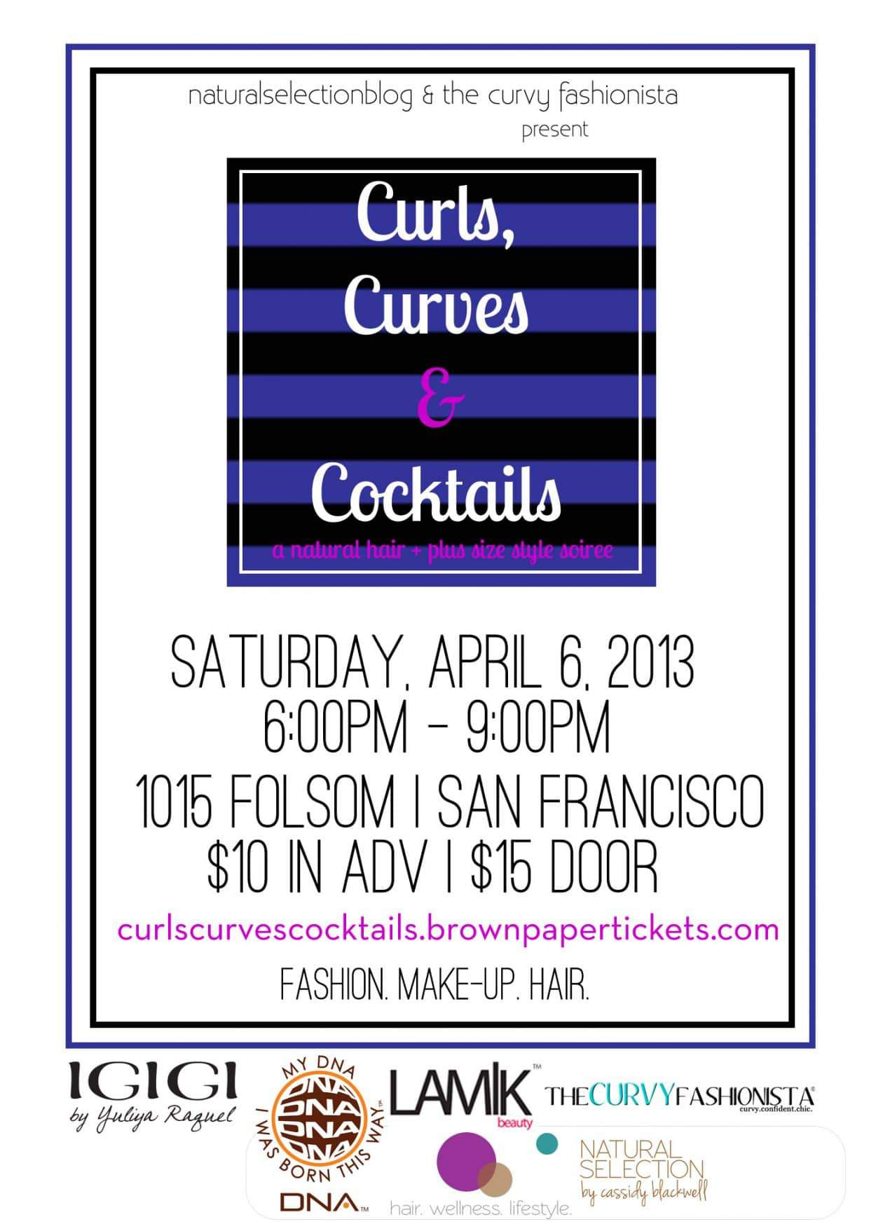 The Curvy Fashionista and Natural Selection present CURLS CURVES COCKTAILS