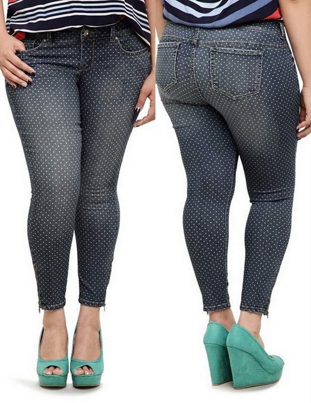 The Plus Size Stiletto Jean from Torrid - Polka Dot