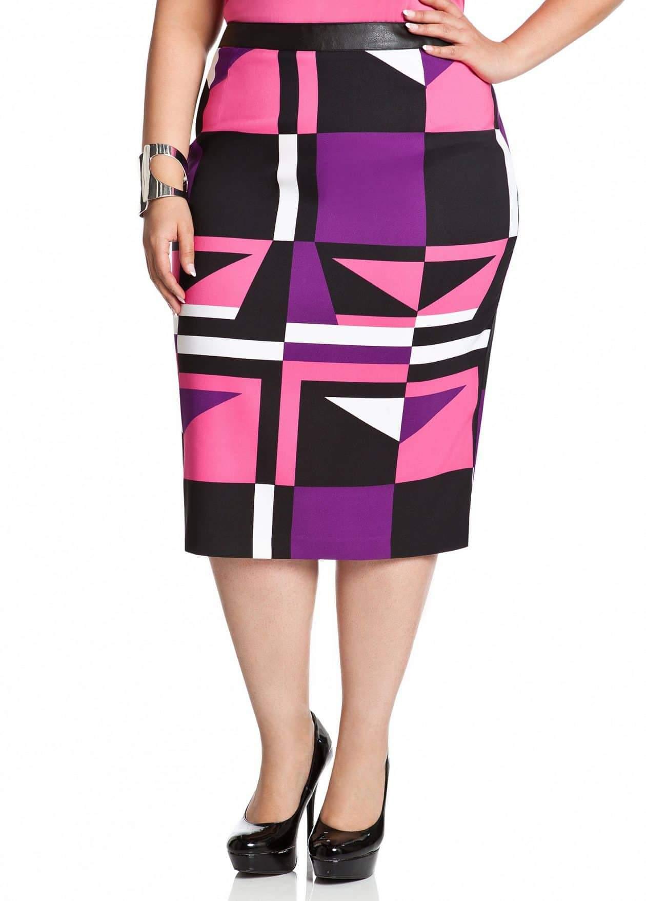 Ashley Stewart Geo Midi Pencil Skirt