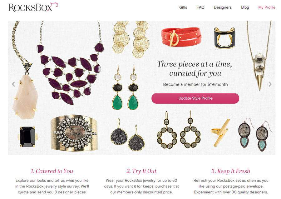 Rocksbox Jewelry Subscription Based Service
