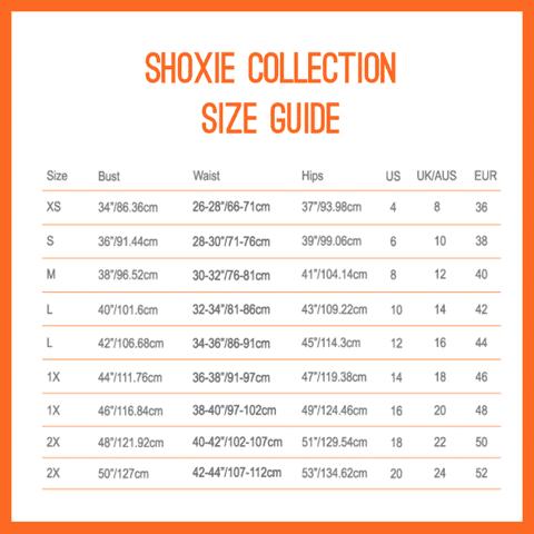 Shoxie Plus sizes size chart