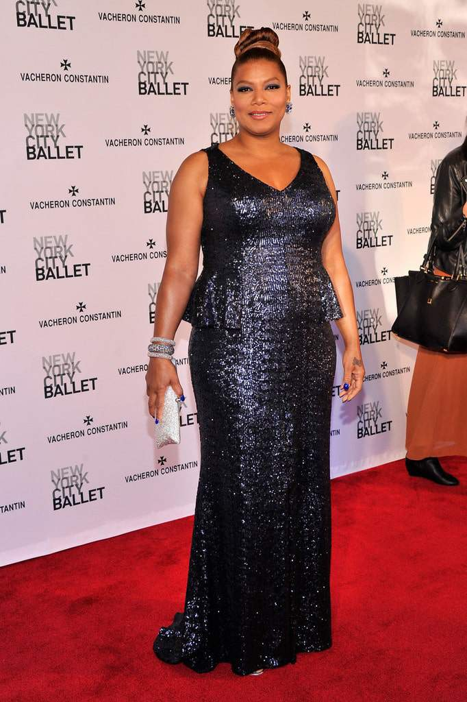Queen Latifah Red Carpet in Carmen Marc Valvo at the 2013 NYC Ballet -Face