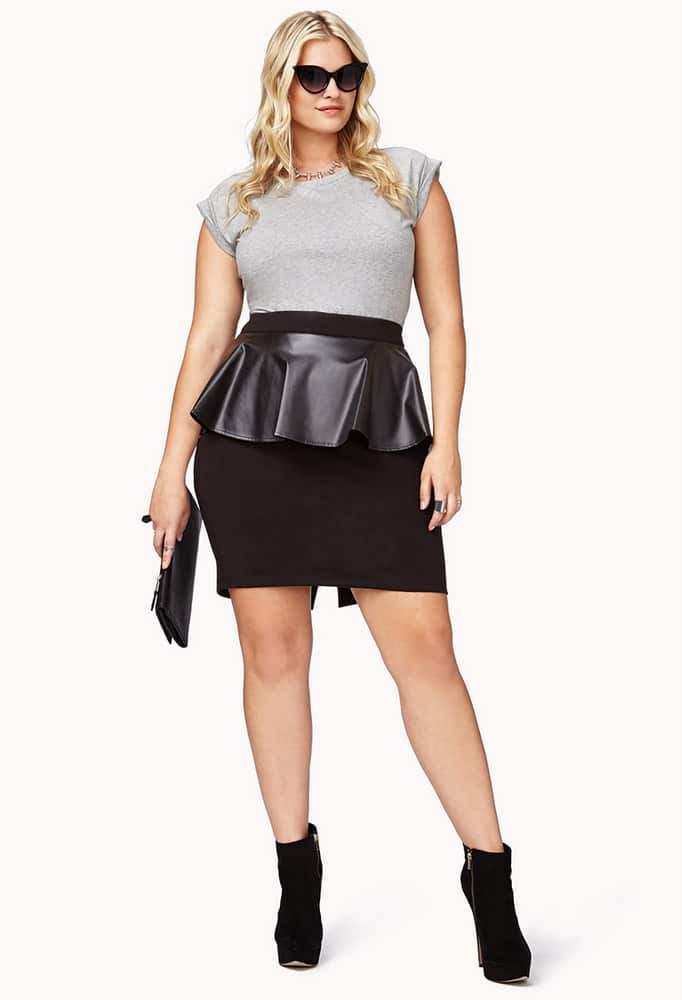 Forever 21 Leather Peplum Skirt