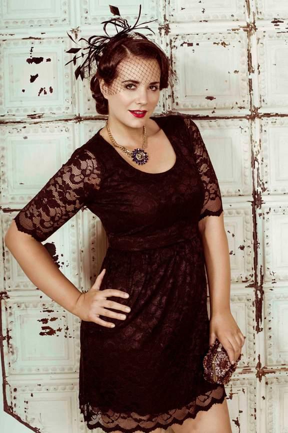 Plus Size Designer Pink Clove Black lace dress