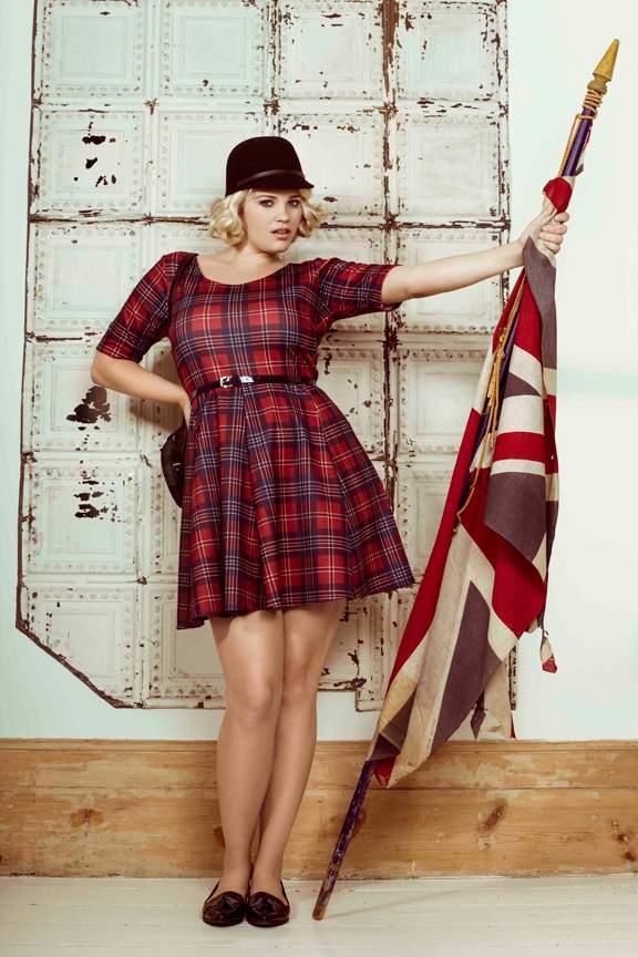Plus Size Designer Pink Clove Plaid dress