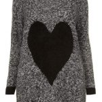 Evans Gray Fluffy Heart Plus Size Sweater