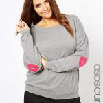 ASOS Curve With Lips Elbow Patch Sweater