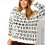 Asos Curve Fluffly Alphabet Print Sweater