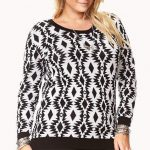 Plus Size Tribal Patterned Sweater