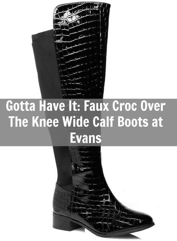 Faux Croc Over The Knee Wide Calf Boots at Evans