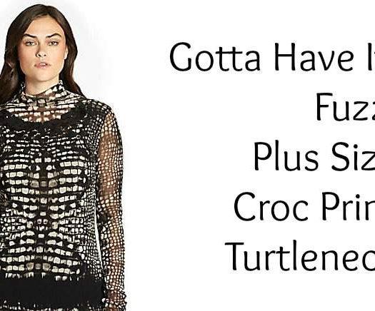 Gotta Have It: Fuzzi Plus Size Croc-Print Tulle Turtleneck at Salon Z