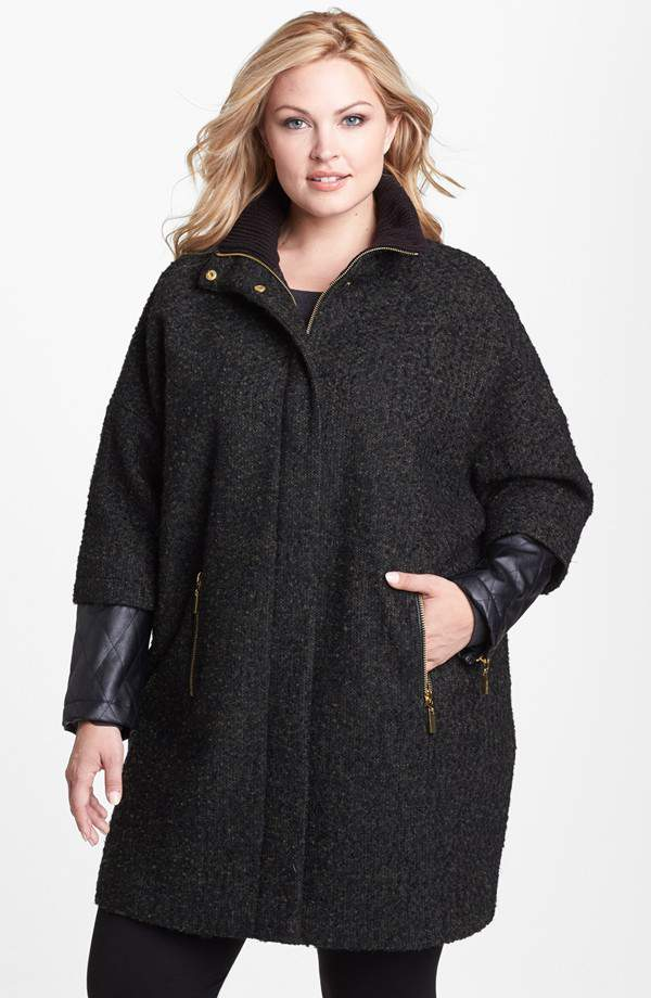 Vince Camuto Plus Size Leather and Tweed coat