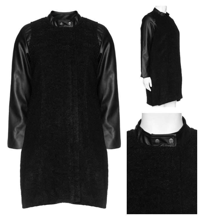 Plus Size Mixed Media Coat by studio at Navabi on The Curvy Fashioinsta