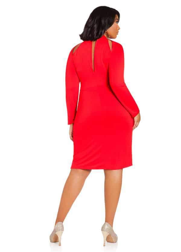 Ashley Stewart Cutout Neck Long-Sleeve Plus Size Dress