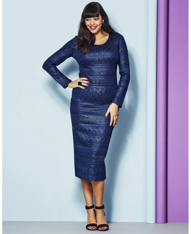 Plus Size Jacquard Midi Dress from Simply Be on The Curvy Fashionista