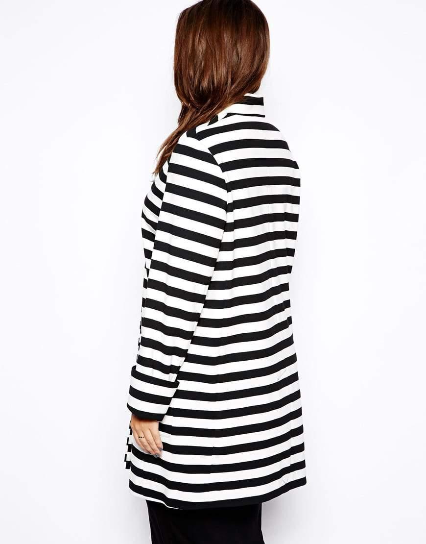 ASOS CURVE Striped Coat on The Curvy Fashionista