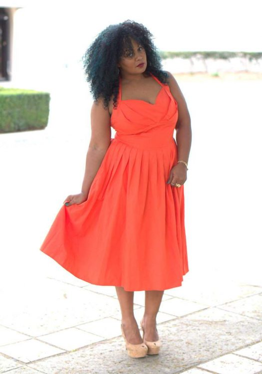 Marie Denee in eShakti Dress on the Curvy Fashionista